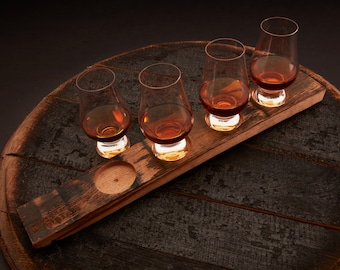 Whiskey Flight Board and 4 Optional Glencairn Whiskey Glasses, Whiskey Serving Tray, Whiskey Tasting Set, Engraved Bourbon Barrel Stave