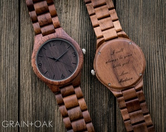 Wood Watch, Wooden Watch, Engraved Watch, Mens Wood Watch, 5th Anniversary Gift, Graduation Gift for Son, 1st Fathers Day Gift, Wood Watch