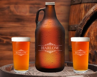 Laser Etched Glass Growler Set, Home Brewer, Craft Beer Gift, Engraved Growler, Beer Lover Gift, Personalized Gift For Guys, Gift For Dad