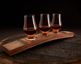 Premium Three Glass Barrel Whiskey Flight Board, Optional Glencairn Whiskey Glasses, Personalized Serving Tray, Whiskey Flight Man Cave Gift