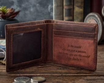Leather Wallet For Men - Engraved Leather Wallet - Personalized Billfold - Groomsmen Gifts - Boyfriend Gifts