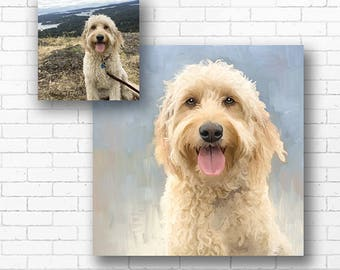 3af9ae9633d6 CUSTOM PET Portrait from Photo on Canvas, Birthday Day Gift Present,  Customized Dog Cat Art, Digital File or Painting Mounted Gallery Wrap