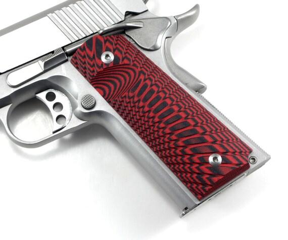 1911 Custom Made Pistol Grips - Red/Black G10- Full Size  Government-Starburst Pattern