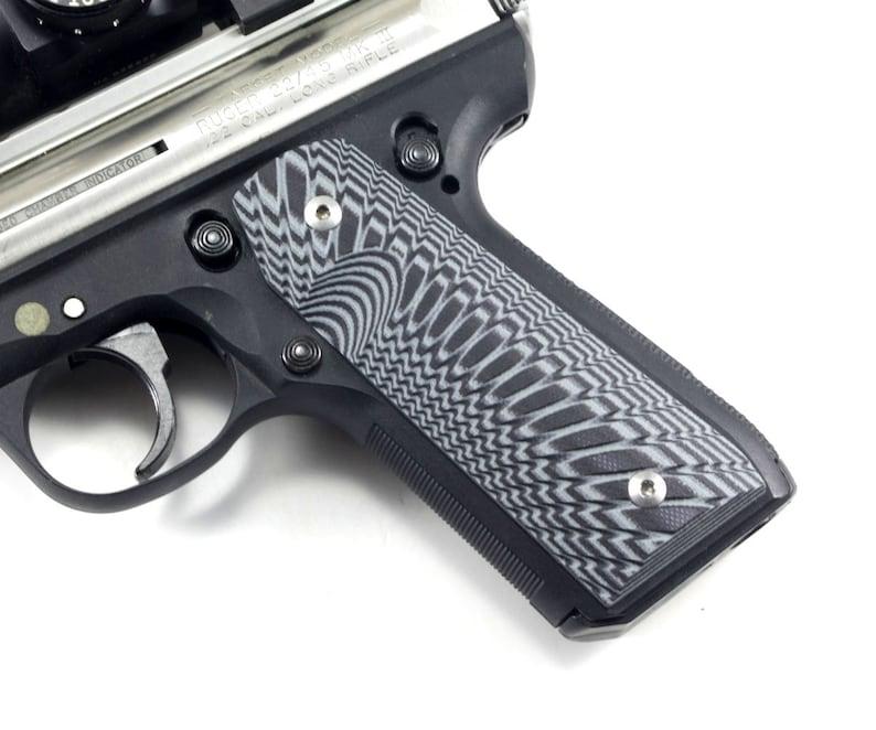 Ruger MK3 22/45 Pistol Grips - Dark Grey/Black G10 -Starburst Pattern- Made  in the USA