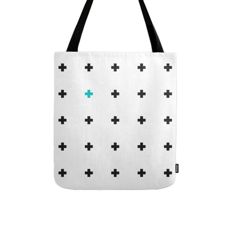 White and black swiss cross tote bag swiss cross bag White and black tote bag White and black canvas tote bag White canvas tote bag