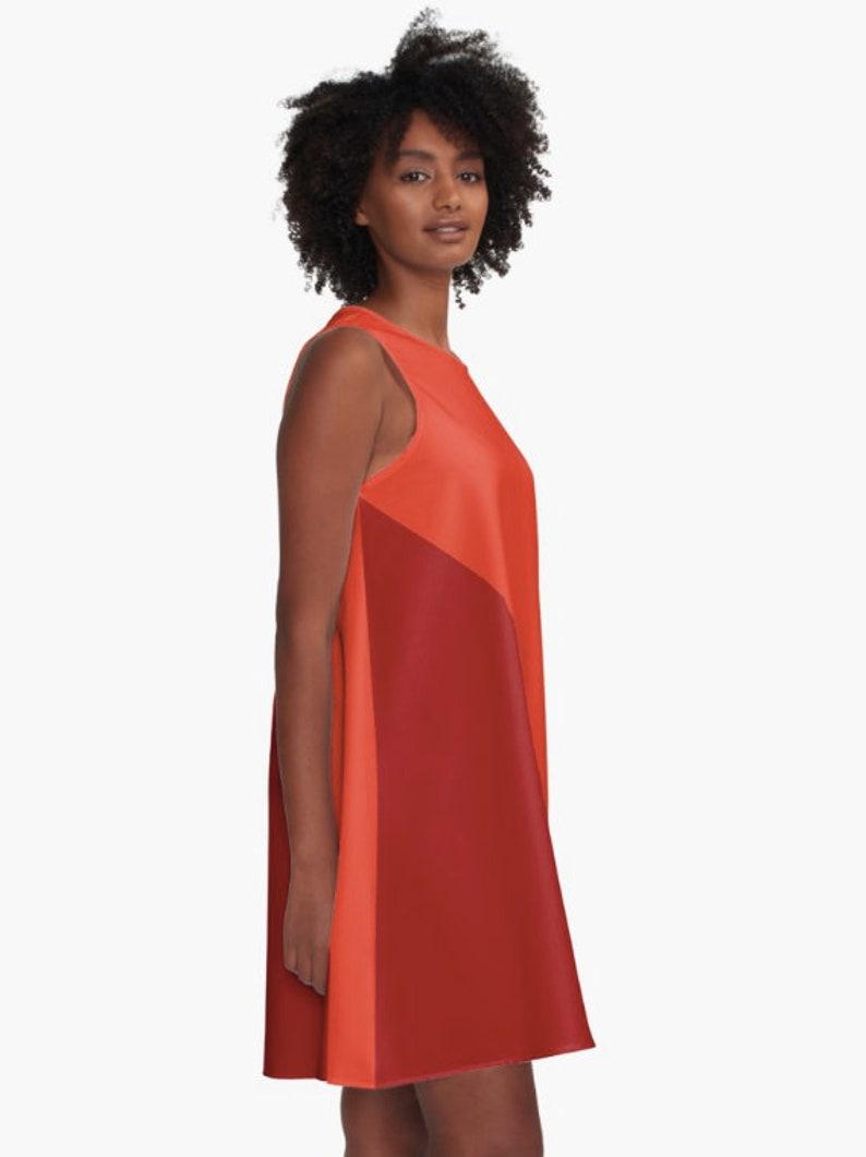 Red and orange dress  Red dress  Sleeveless A-Line dress  Swing Dress  Trapeze Dress XS S M L XL 2XL  Modern dress block colors dress
