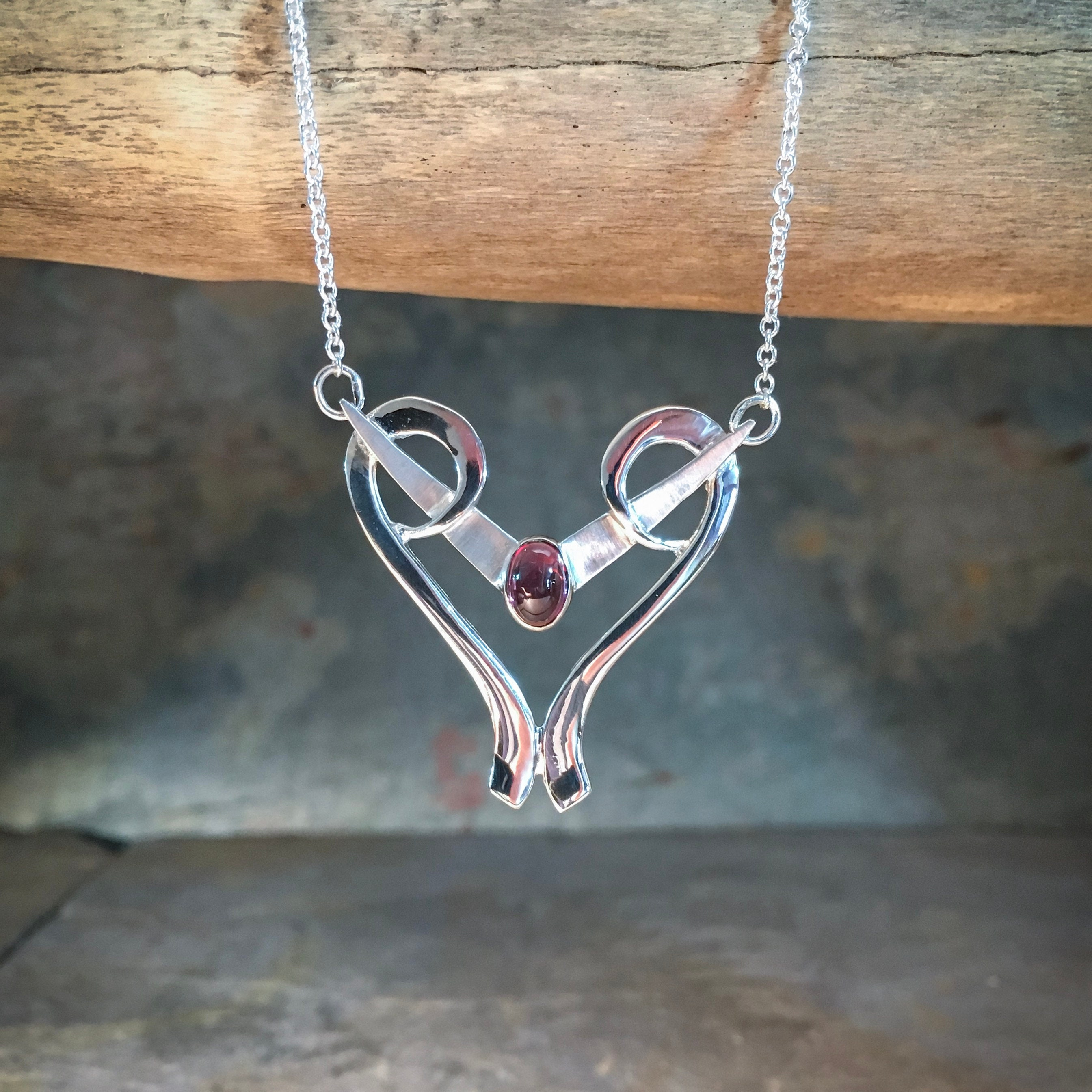 Blade Chevron Heart Necklace with Genuine Gemstone, Sterling Silver - A fine jewelry anniversary gift, gift for wife or gift for girlfriend.