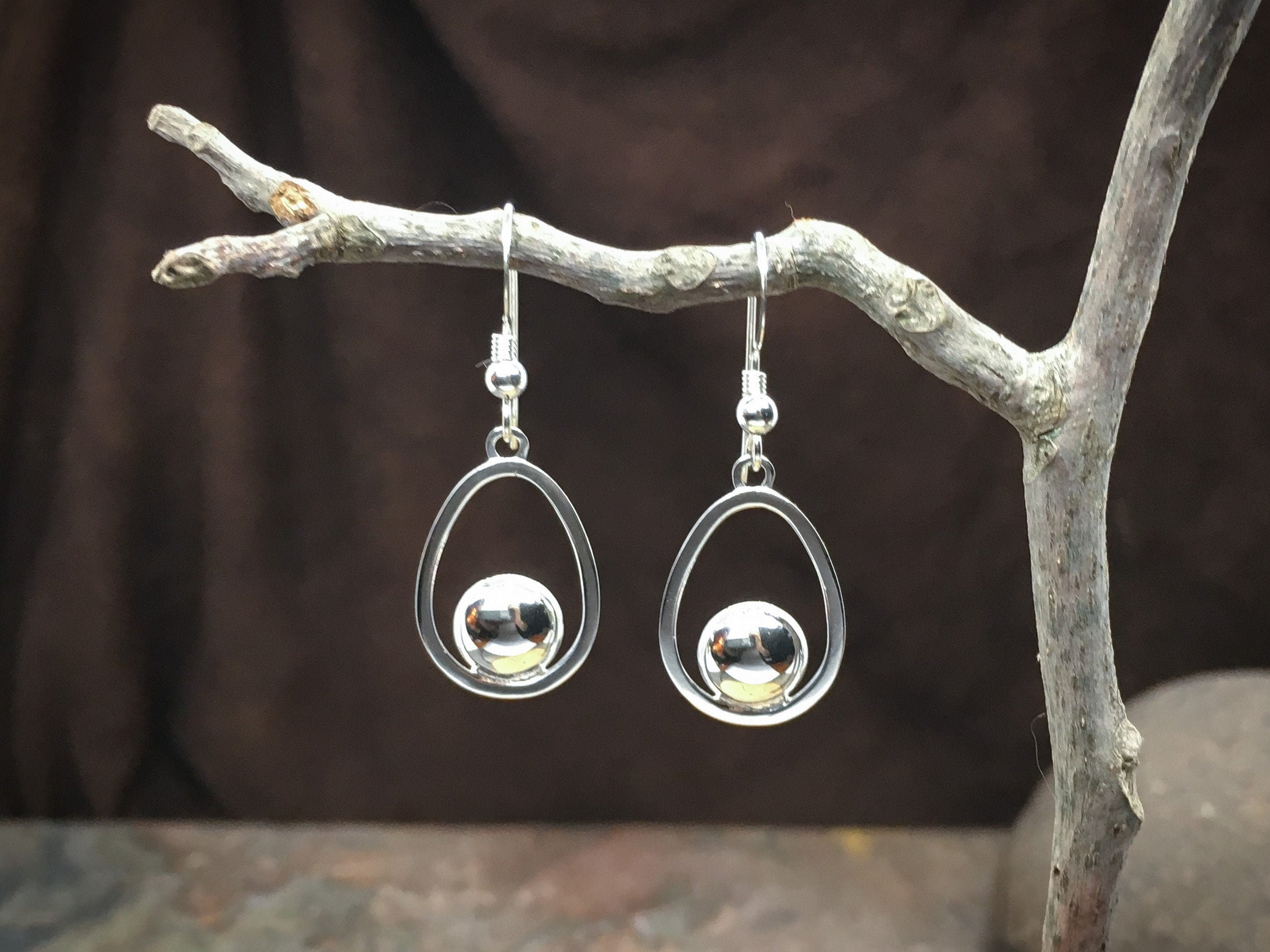 EGG Earrings in solid Sterling Silver - High end earrings for anniversary gift, birthday gift, gift for wife, farmer gift or chicken gift!