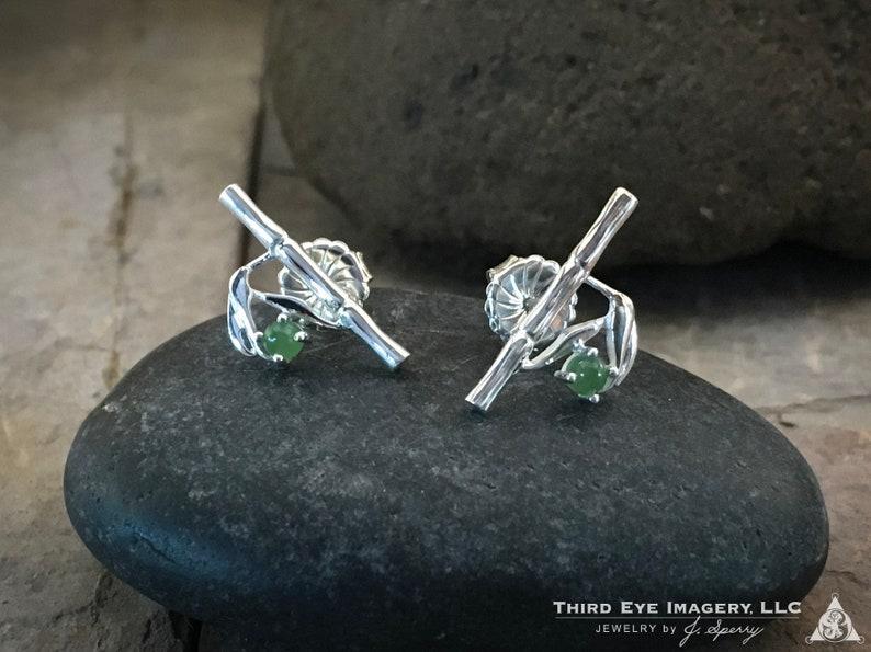 Bamboo Jade Stud Earrings in solid Sterling Silver  High end image 0