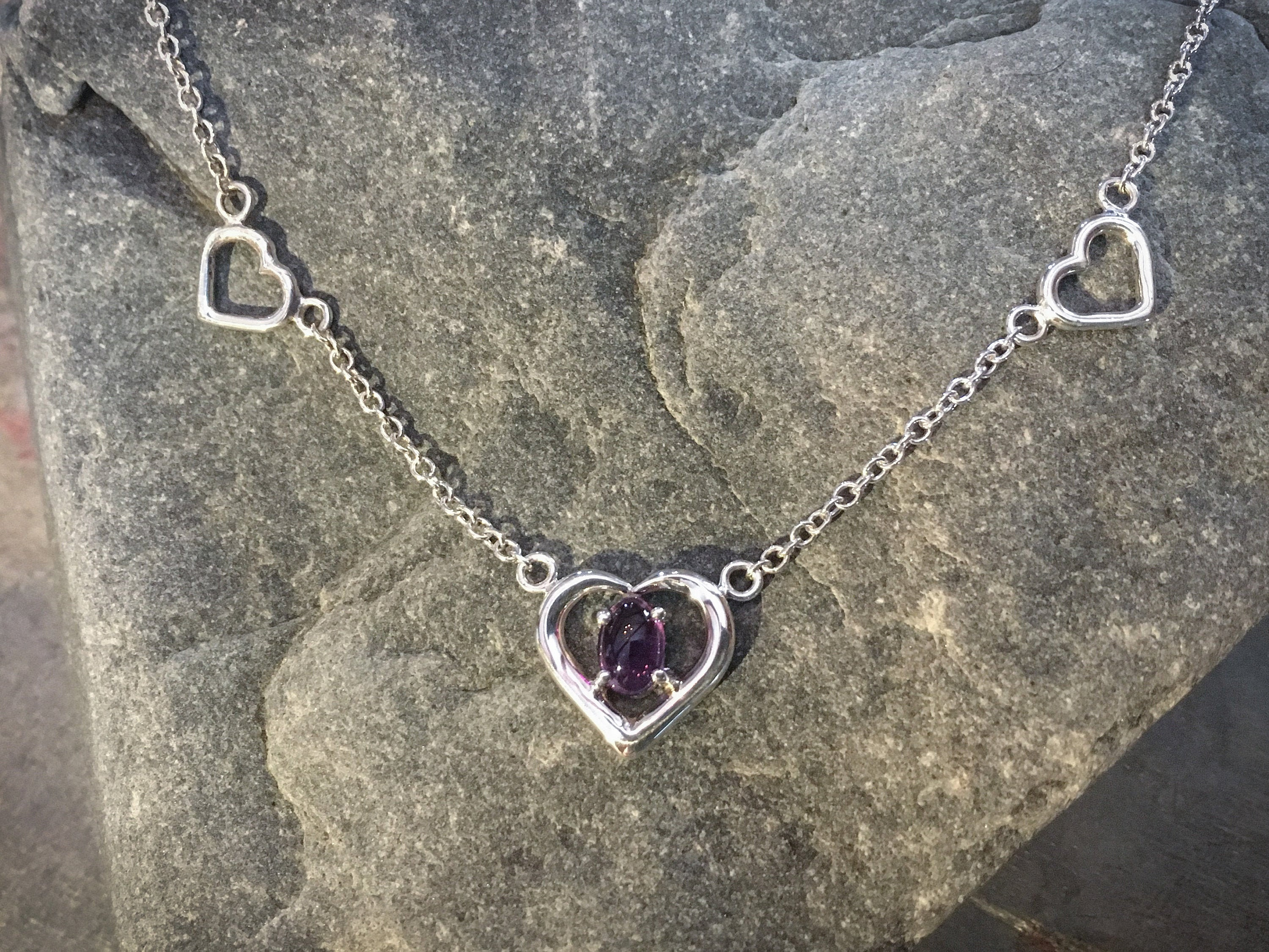 Three Hearts Amethyst Necklace in solid Sterling Silver - ONLY ONE MADE! - A fine anniversary gift, gift for wife or gift for girlfriend.