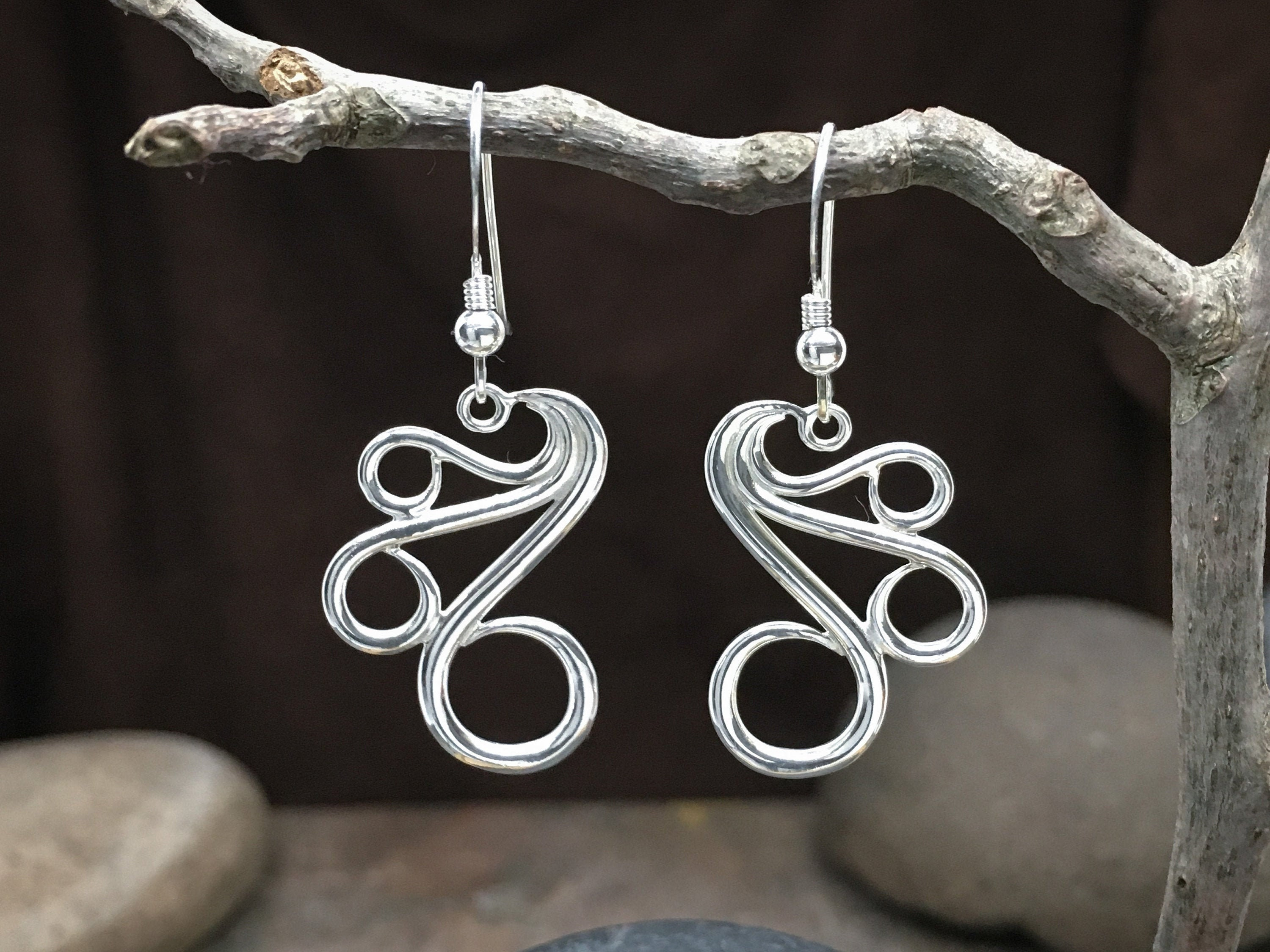 "Fancy Earrings ""large"" solid Sterling Silver - Fine Jewelry great for anniversary gift, birthday gift, wife gift or gift for girlfriend!"