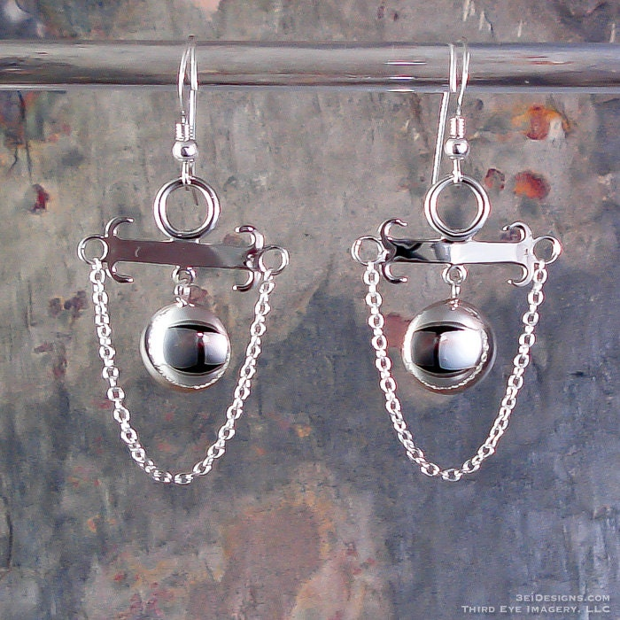 Custom Dome Dangle solid Sterling Silver Earrings - ONLY ONE MADE - Makes a fine handmade anniversary gift, gift for wife or gift for mom.