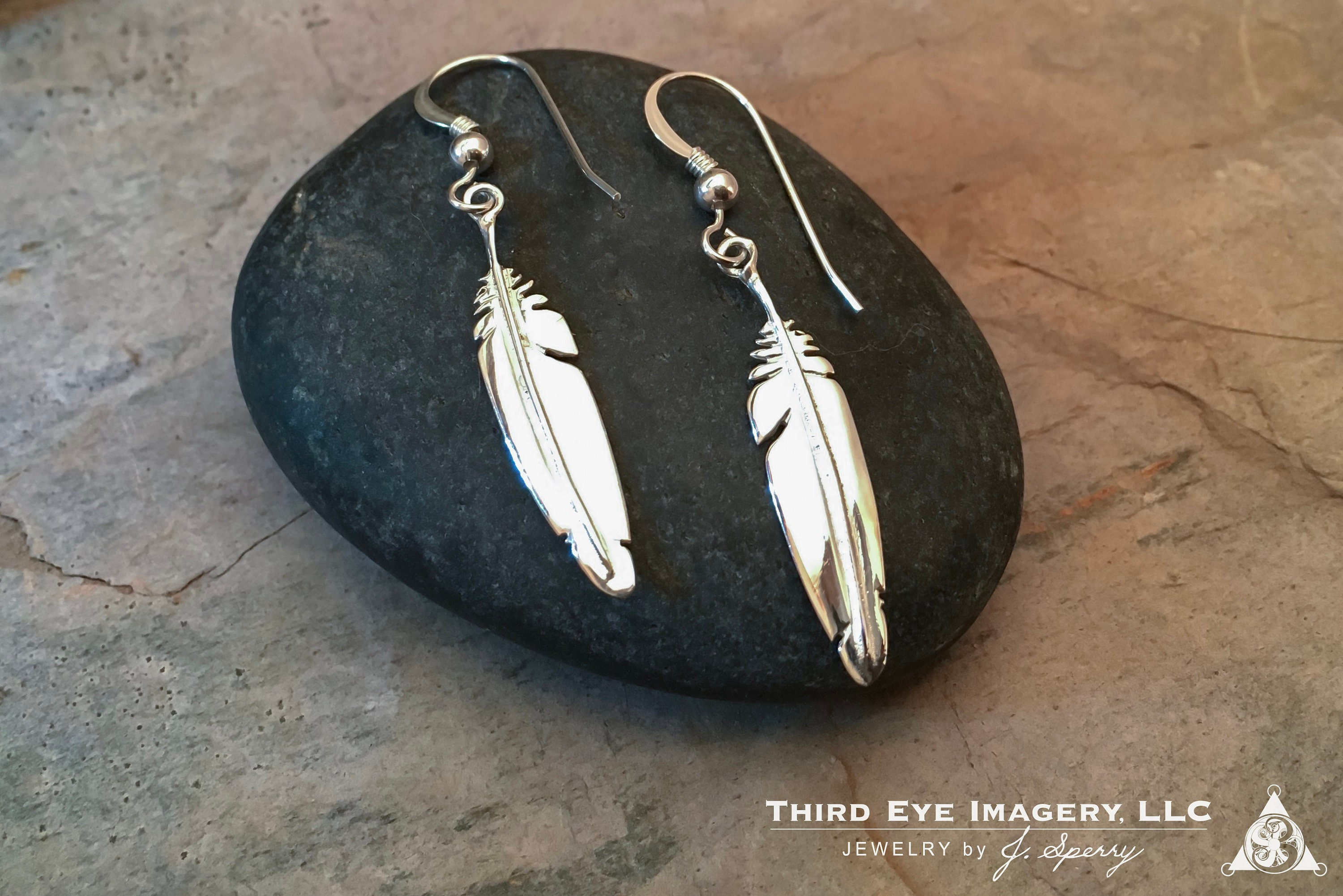 Feather Earrings in solid Sterling Silver - Wonderful for anniversary gift, gift for mom, birthday gift, wife gift or gift for girlfriend.