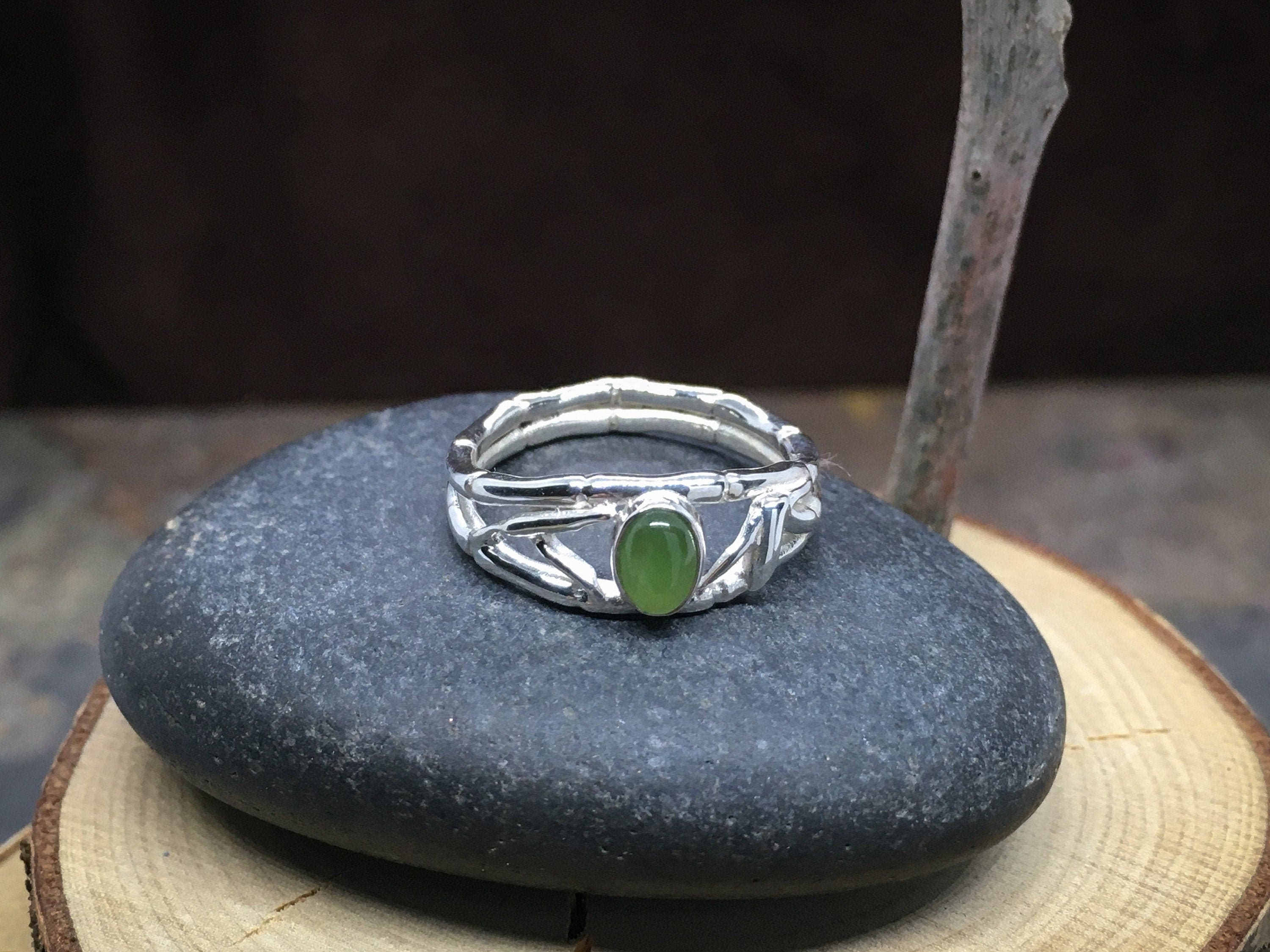 Bamboo Jade Ring in solid Sterling Silver - Wonderful for anniversary gift, gift for her, birthday gift, wife gift or engagement ring!