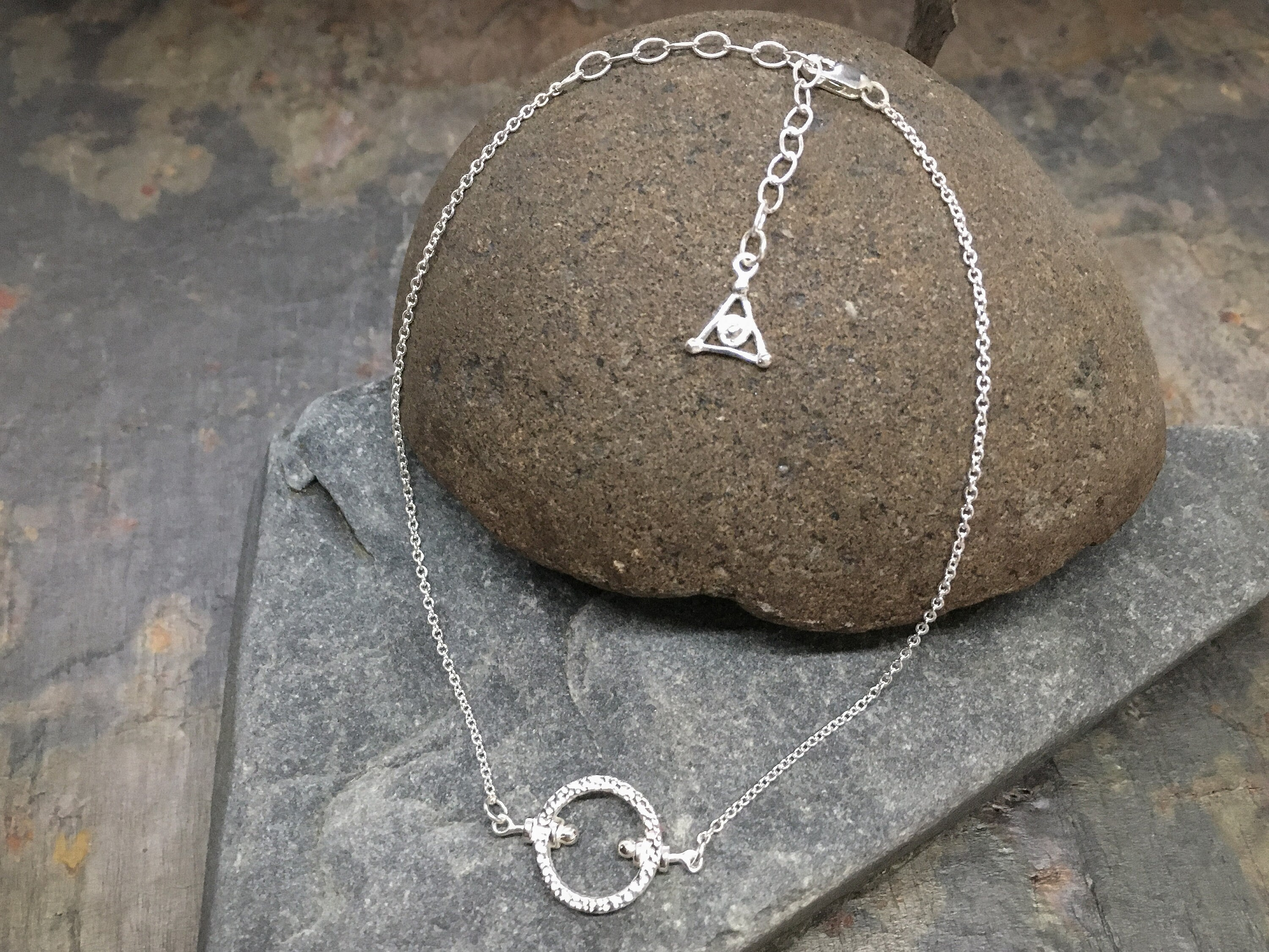 """Rough Garden Stone Anklet in solid Sterling Silver, 9""""-11"""" Adjustable! - Fine jewelry great for wife gift, birthday gift, girlfriends gift!"""