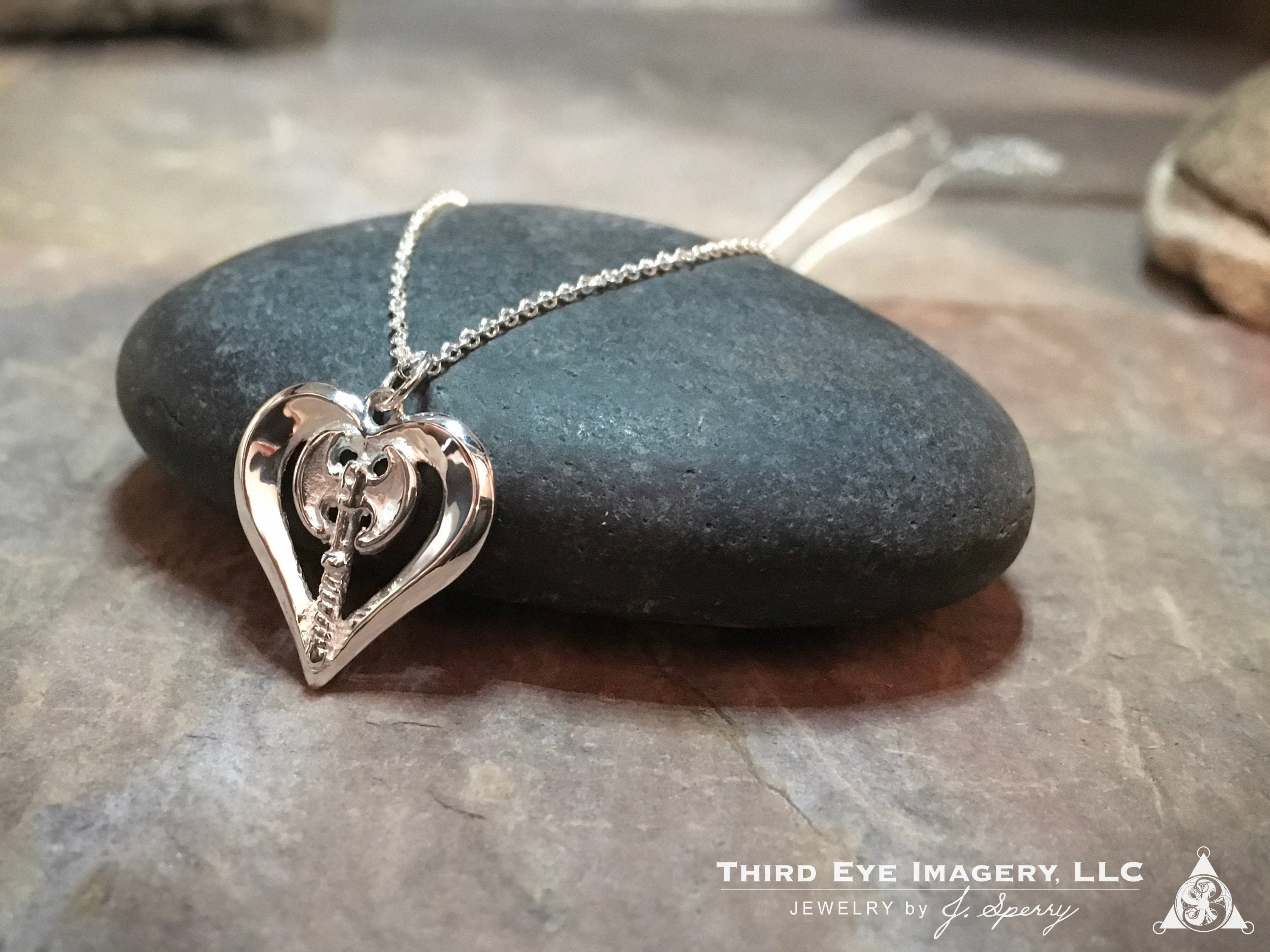 Labrys Heart Pendant in solid Sterling Silver -Wonderful for anniversary gift, gift for mom, birthday gift, wife gift or gift for girlfriend
