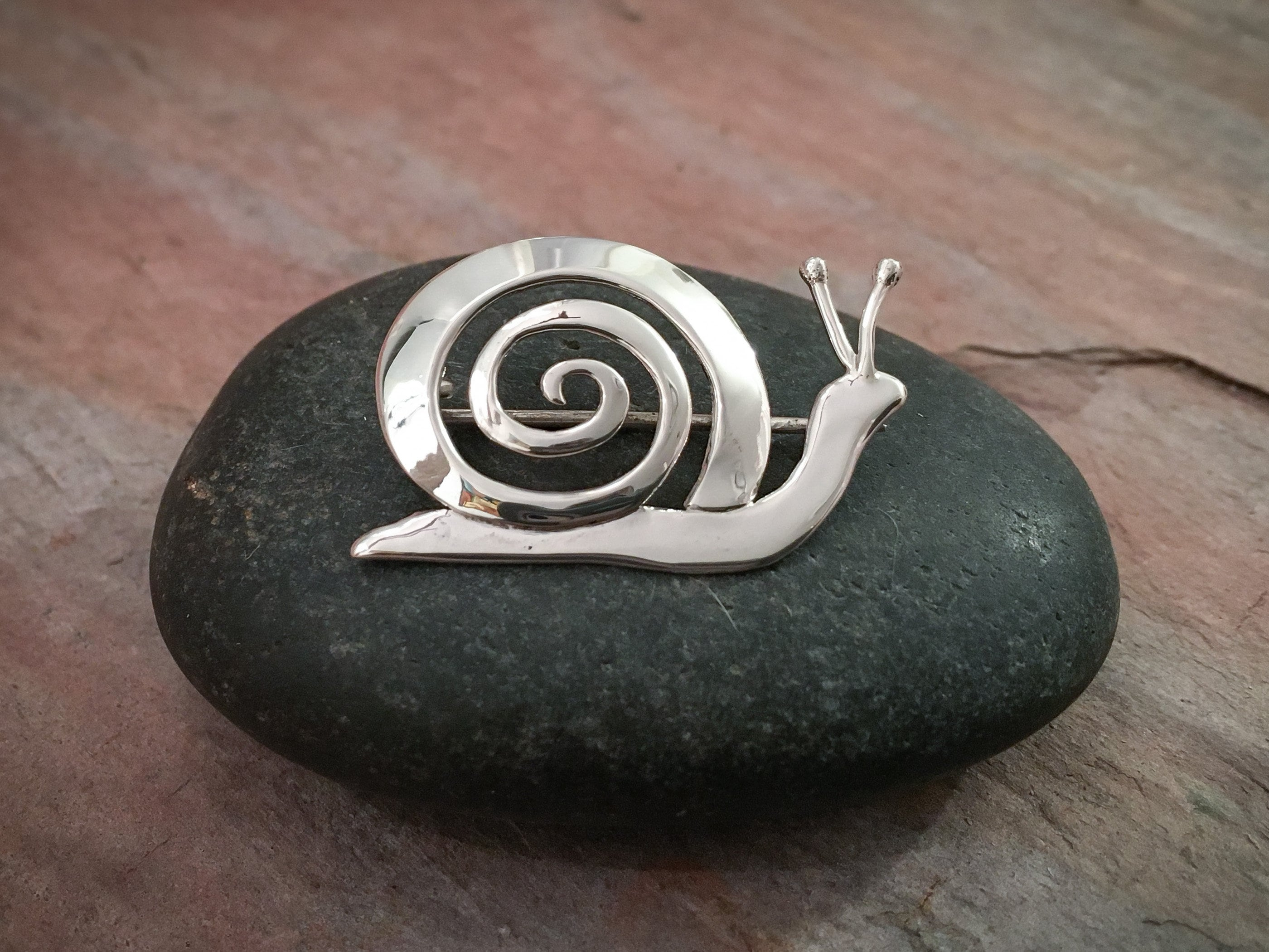 Snail Pin in Sterling Silver - Custom Handmade  - ONLY ONE MADE! - Great for thinking of you gift, birthday gift or a nice thank you gift.