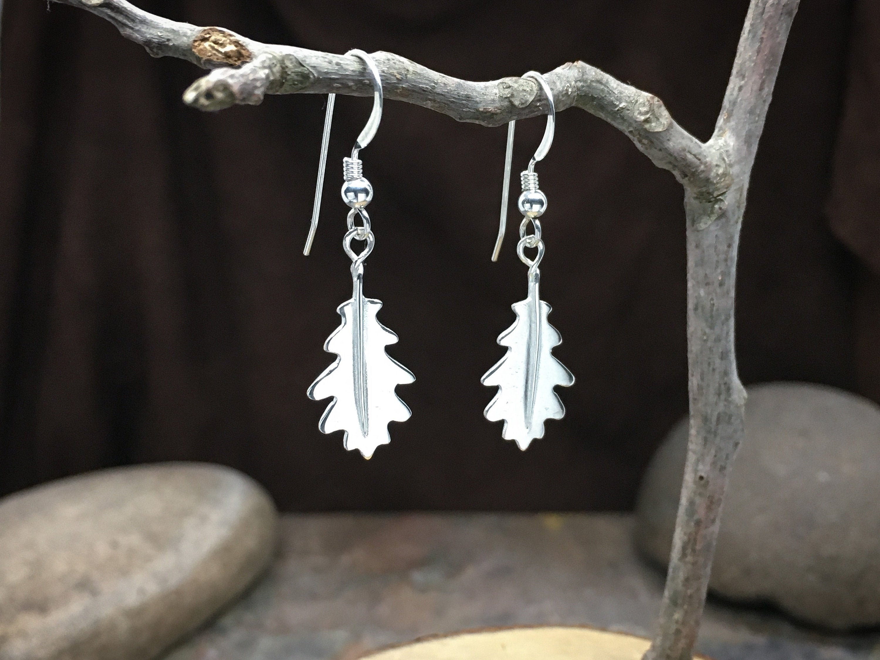 Oak Leaf Earrings in solid Sterling Silver - High end fine Jewelry for anniversary gifts, birthday gifts, wife gifts or gift for girlfriend!
