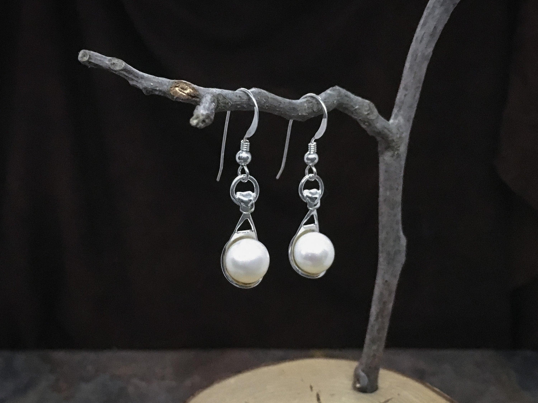 Drop Pearl Earrings solid Sterling Silver - High end fine bridal earrings, bridesmaids earrings, formal earrings or even everyday earrings!