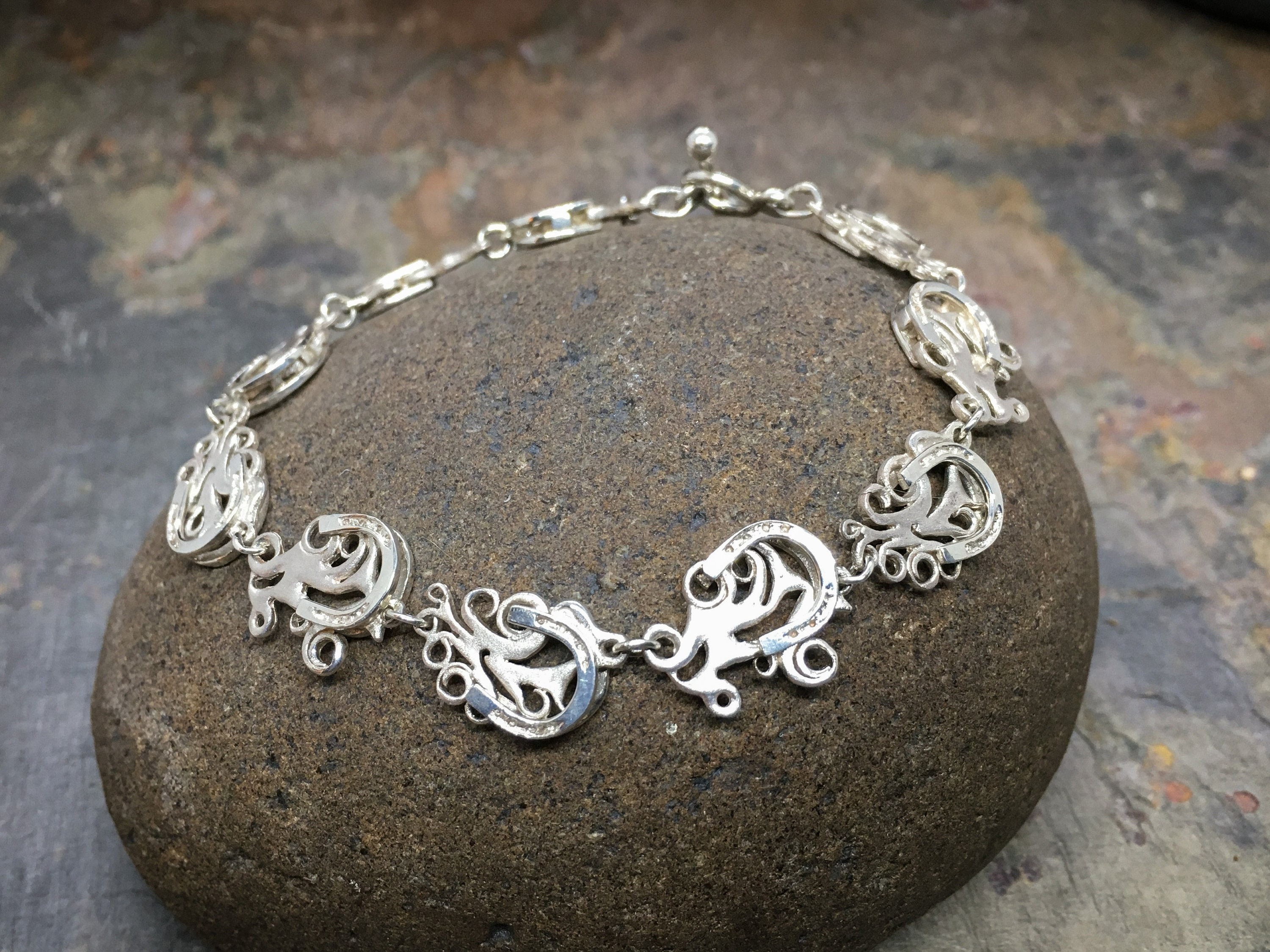 Dusty Trails Horseshoe Bracelet in solid Sterling Silver - High end western Jewelry for equestrian gifts, horse gifts or equine gifts!