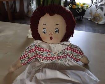 Very RARE Krueger Aftermarket Cloth Raggedy Ann Rag Doll w Orig Outfit Clothes Pretty Dress Cute Face Yarn Hair
