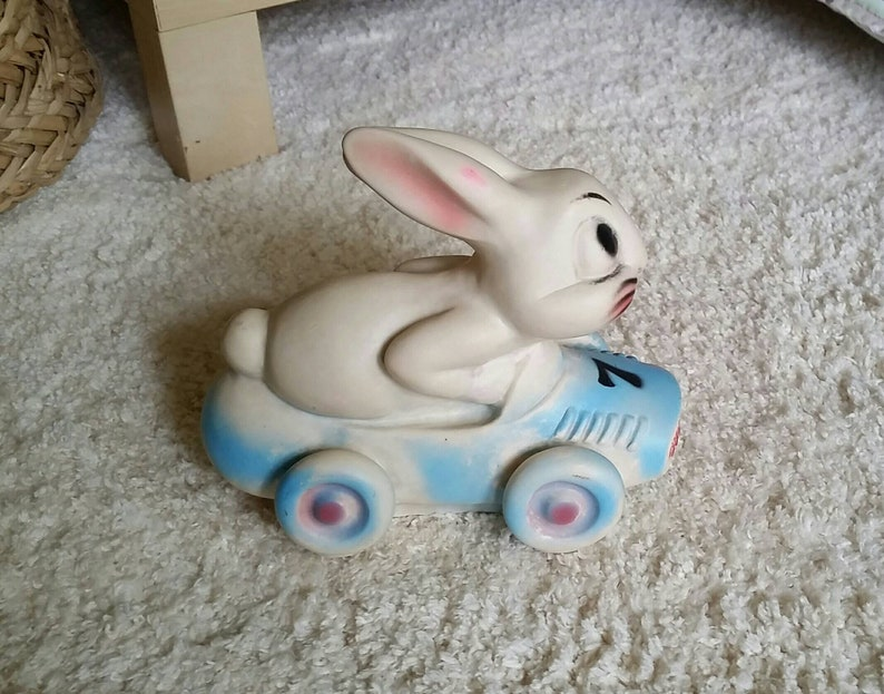 Rare Vintage 1956 Dreamland Creations Rubber White Bunny Rabbit Blue Race Car 7 Squeak Squeek Toy Doll