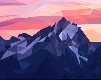 Low-Poly Poster-Mountain sunrise