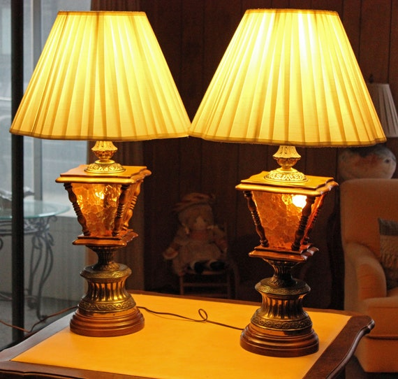 Pair Mid Century Lamps Wood Brass Amber Glass 3 Way Table Lamps Lamp Post Style Circa 1950s Excellent Condition Shades Sold Separately