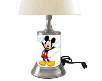 Mickey mouse lamp etsy mickey mouse lamp with shade aloadofball Images