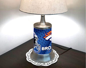 Table Lamp with shade, Denver Broncos plate rolled in on the lamp base