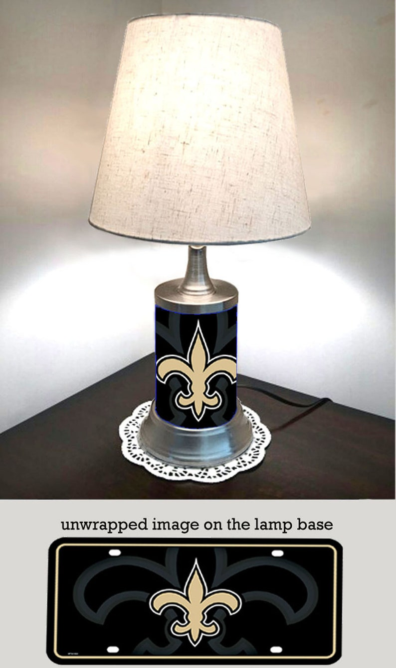 Table Lamp With Shade New Orleans Saints Plate Rolled In On Etsy