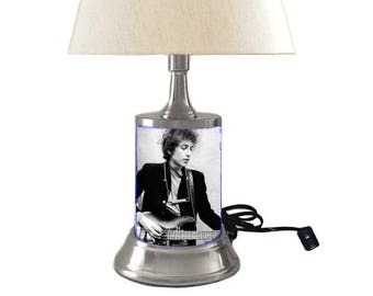 Table Lamp with shade, Bob Dylan plate rolled in on the lamp base