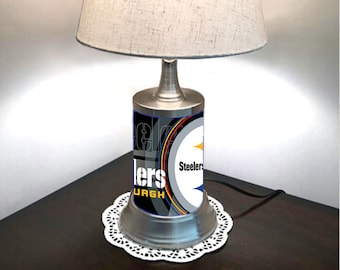 Table Lamp with shade,  Pittsburgh Steelers plate rolled in on the lamp base