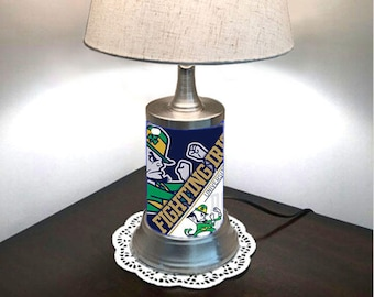 Table Lamp with shade, Notre Dame Fighting Irish plate rolled in on the lamp base