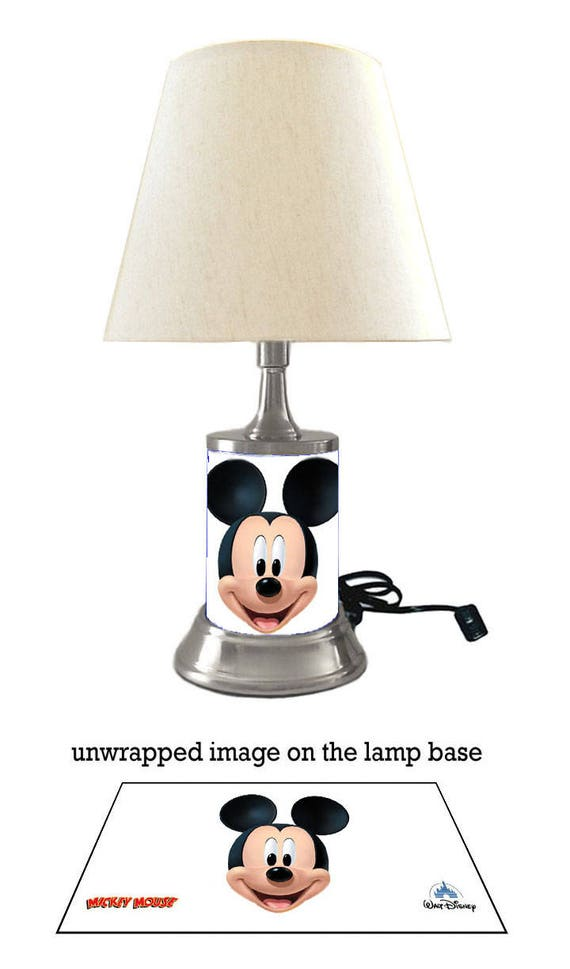 Mickey mouse lamp with shade shade face etsy image 0 aloadofball Images