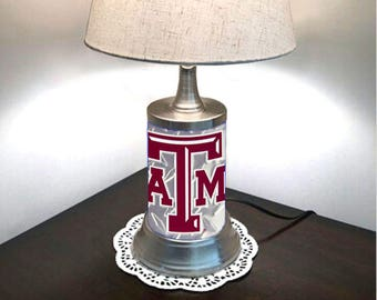 Texas lamp shade etsy table lamp with shade texas am aggies plate rolled in on the lamp base aloadofball Gallery