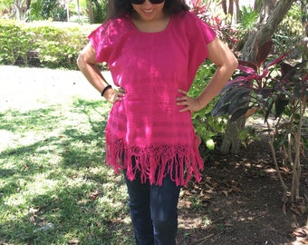 Tradicional Mexican  ~  fucsia ~ Blouse of Loom