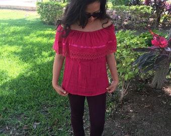 Campesina mexican fucsia blouse