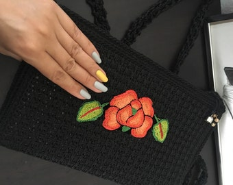Crochet and embroidered black bag
