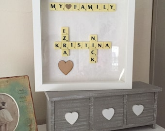 Scrabble picture personalised frames choose your own words gift idea wall art