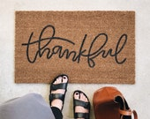 Thankful Welcome Mat   Door Mat   Hand Painted   Housewarming Gift   Wedding Gift   Outdoor Doormat