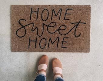 Home Sweet Home Welcome Mat | Door Mat | Hand Painted | Housewarming Gift | Wedding Gift | Outdoor Doormat