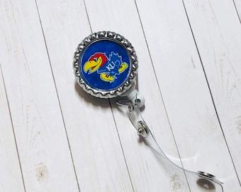29c63648003ae KU Kansas Jayhawks baseball football basketball NCAA badge reel retractable  spring clip ID holder