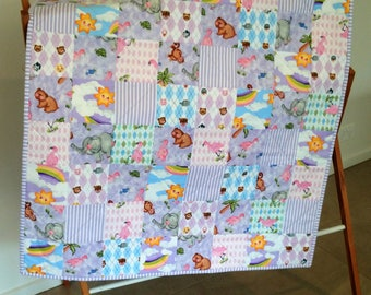 REDUCED! 2 x  Noah's Ark Cot Quilts, Play Mat, Cuddle Quilt, Pram Quilt, Baby Quilt, Baby Blanket, Throw,   *SHIPPING INCLUDED