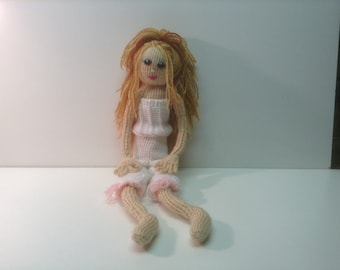 Hand Knitted Doll and Accessories