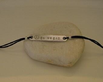 Go vegan and Black Lace engraved bracelet