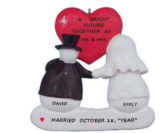 Just Married Snow Couple - Bright Future Together Wedding Personalized Wedding Christmas Ornament