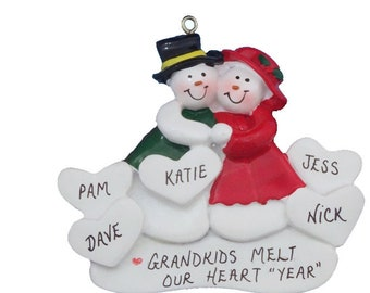 Personalized Grandparents Ornament with 6 Grandkids - 6 Grandchildren Personalized Christmas Ornament - Family of 8 - 8 Names Ornament