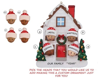 Personalized Ornament Bi-Racial Family 4 House  - Custom Ethnicities Family 4 - Blended Family of 4 New Home - African American Family 4