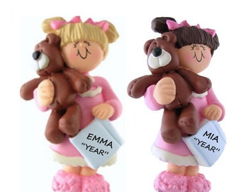 Toddler Girl Personalized Christmas Ornament in Pajamas with Teddy Bear - Personalized Little Girl Ornament - Child Christmas Ornament